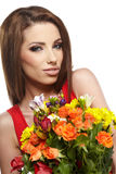 Woman with bouquet Stock Photos