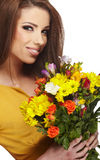Woman with bouquet Stock Photo