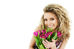 Woman with bouquet of tulips Royalty Free Stock Image