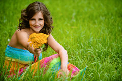 Woman with bouquet of yellow Royalty Free Stock Photo