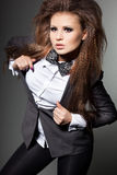 Woman with bow-tie stock photo