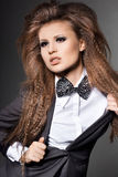 Woman with bow-tie Royalty Free Stock Images
