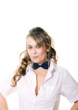 Woman in bow tie Stock Photo