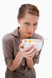 Woman with a bowl of fruit salad Stock Photo