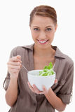Woman with bowl of salad Royalty Free Stock Image