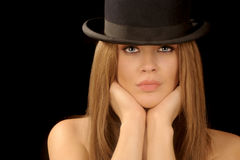 Woman in bowler hat. Beautiful image of a woman with vintage bowler hat stock photo