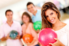 Woman bowling Royalty Free Stock Images