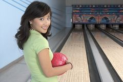 Woman At Bowling Alley Stock Images