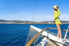 Woman on bowsprit Stock Photography