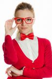 Woman with bowtie holding glasses Royalty Free Stock Image