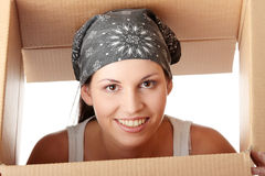 Woman with box Stock Photo