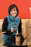 Woman and box Stock Photography