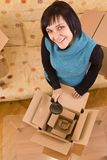 Woman and box Royalty Free Stock Images