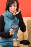 Woman and box Stock Image