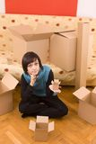 Woman and box Royalty Free Stock Image