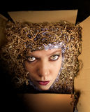Woman in the box. Woman looking out of the box with hypnotic eyes Royalty Free Stock Photo