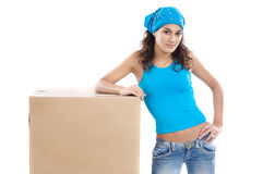 Woman with box Stock Photography