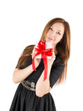 Woman box bow ribbon Stock Photos