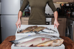 Woman with a box of fish in her kitchen Royalty Free Stock Photo