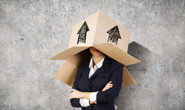 Woman with box on head Royalty Free Stock Photography