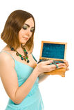 Woman with box of jewel in her hands Royalty Free Stock Photos