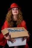 The woman and a box of money. A series of photos ïîð the woman and money Royalty Free Stock Photo
