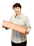 Woman with box for sprouts Royalty Free Stock Image