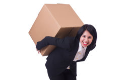 Woman with box Stock Image