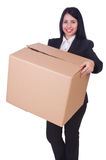 Woman with box Royalty Free Stock Photography