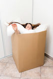 Woman in a box Royalty Free Stock Photo