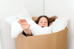 Woman in a box Royalty Free Stock Images