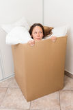 Woman in a box Royalty Free Stock Photography