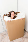 Woman in a box Stock Images