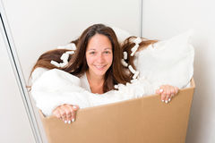 Woman in a box Stock Image