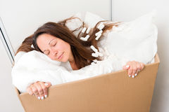 Woman in a box Royalty Free Stock Photos