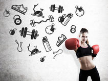 Woman boxer and black sport icons Royalty Free Stock Photos
