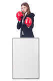 Woman boxer with blank board Royalty Free Stock Images