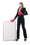 Woman boxer with blank board Stock Image