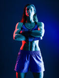 Woman boxer boxing isolated stock images