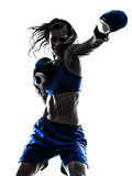 Woman Boxer Boxing Kickboxing Silhouette Isolated Royalty Free Stock Photos