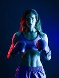 Woman boxer boxing  Royalty Free Stock Photos