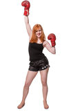 Woman boxer celebrating success Royalty Free Stock Photography