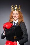 Woman boxer with crown Royalty Free Stock Photo
