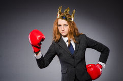 Woman boxer with crown Stock Images