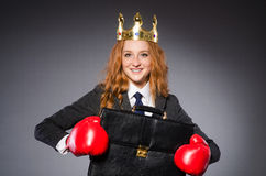 Woman boxer with crown Royalty Free Stock Image