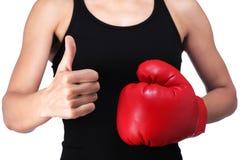 Woman boxer doing okay sign Stock Image
