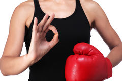 Woman boxer doing okay sign Royalty Free Stock Images