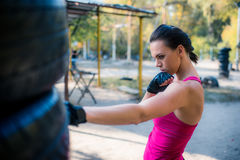 Woman boxer doing working out Royalty Free Stock Photography