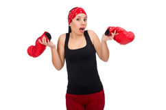 The woman boxer isolated on the white Royalty Free Stock Images