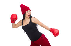 The woman boxer isolated on the white Stock Photography